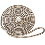Nylon Double Braid Dock Line 5/8'' x 20' White and Gold