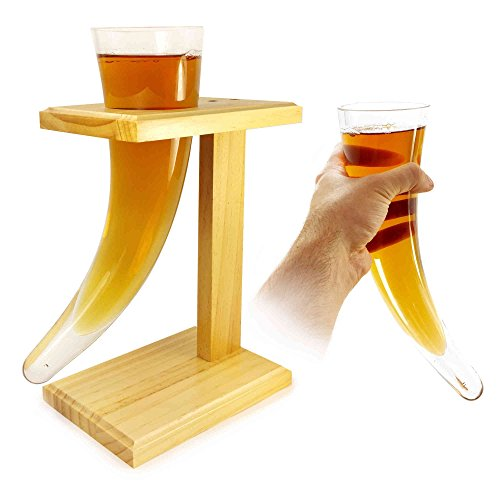 Tuff-luv Personlaised Viking Beer Horn Glass with Birch Wooden Stand 17oz / 480ml