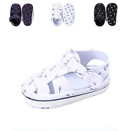 Meckior Summer Baby Infant Boys Sandals Canvas Soft Sole Non-Slip Closed Toe First Walkers Shoes (0-6 Months, D-White)