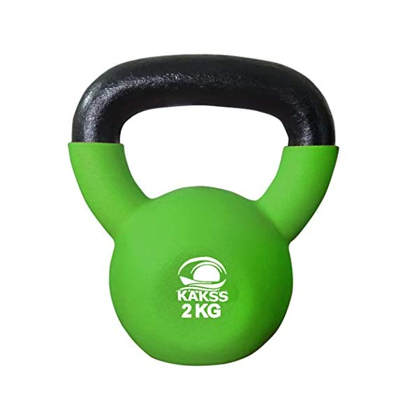 Kakss Half Coating Neoprene Kettlebell (2KG, 4KG, 6KG, 8 KG, 10KG, 12KG, 14 KG, 16KG, 18KG, 20KG, 22KG, 24KG, 26KG, 28… 2021 June Material: Cast iron half neoprene coated Give your body the total toning and strengthening workout Ideal for: Gym, workout
