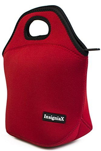 Neoprene Lunch Bag: InsigniaX Cool Lunch Box/Cooler/Lunchbox for Adult Women Men Work School Kids Girls Boys SizeH: 11.8 x W: 6.1 x L: 11.5 (Large, Red)