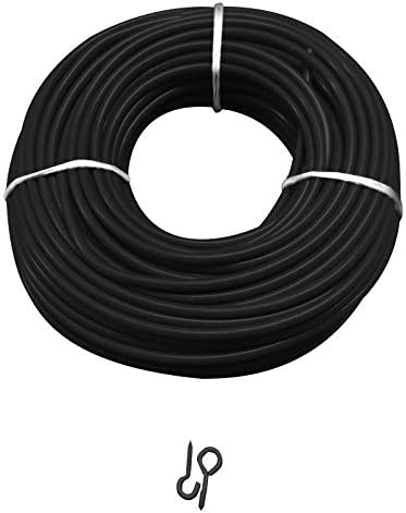 , 10 meter wire picturehangingdirect.co.uk Silver Green Black Net Curtain Wire Voile rope rod Including 6 Hooks 6 eyes 1Mtr-30Mtr Length Black 6Hooks+6Eyes Black Wire +