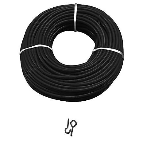 Asta  e cavo per tenda in tulle, inclusi 6ganci e 6occhielli, argento, verde, nero, lunghezza 1 - 30 metri, Filo nero + (Nero 6 ganci + 6 occhielli), 5 meter wire inclusi 6ganci e 6occhielli PHD