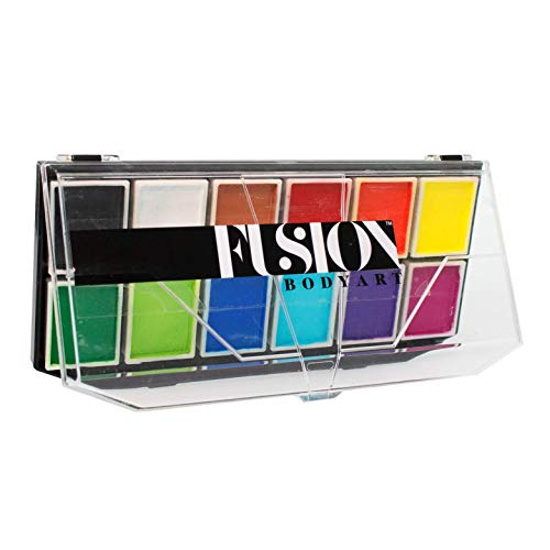 FUSION BODY ART Pro Quality Professional Spectrum Face Painting Palette - Sampler | Hypoallergenic Safe & Non-Toxic - Perfect for Full Face Designs and Cheek Art | Vegan & Water Activated