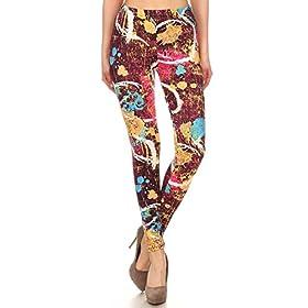 - 41Km4aywb8L - Leggings Depot Women's Ultra Soft Printed Fashion Leggings BAT30