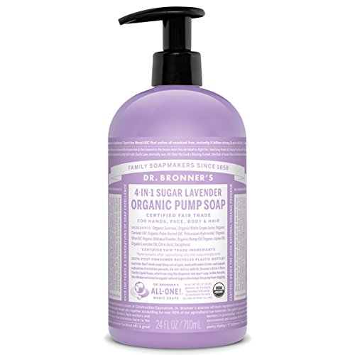 (Dr. Bronner's Organic Lavender Sugar Soap. 4-in-1 Organic Pump Soap for Home and Body (24)