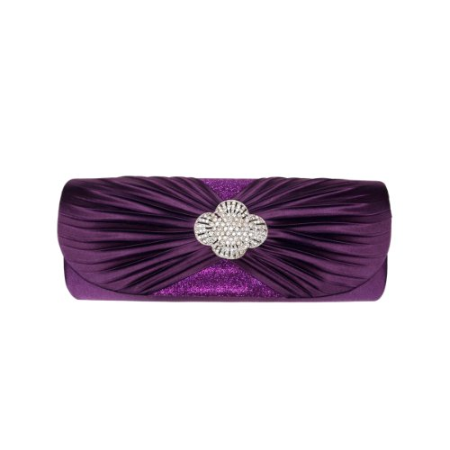 Crystal Elegant Evening Bag Purple Cross Diff Pleated Avail Colors Satin Flap Clutch nBIBqZ