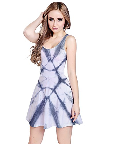 CowCow Damen Kleid Blau Crystal Blue Gr. Small,  - Gray Pattern