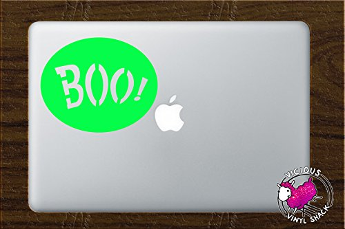 Boo Sign Spooky Halloween Decoration (NEON GREEN) Vinyl MacBook Laptop Vinyl Decal Sticker Home Decor Stickers Car Jack O Lantern Pumpkin Costume Trick or Treat Haunted House Removable Witch Black Cat Bats -