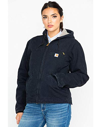 Carhartt Women's Sherpa Lined Sandstone Sierra Jacket (Regular and Plus Sizes), Black, Medium