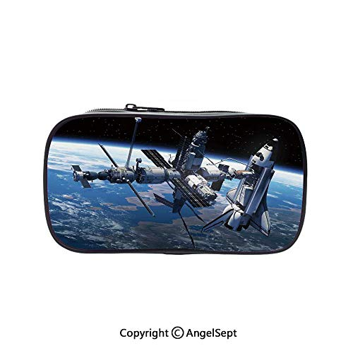 Cute Pencil Case - High Capacity,Space Shuttle and Station View Cosmonaut Adventure on The Myst Globe Orbit Off Blue Grey Black 5.1inches,Multifunction Cosmetic Makeup Bag,Perfect Holder for -