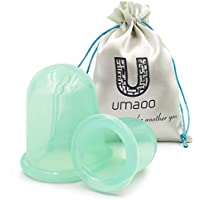 Anti-Cellulite Suction Cup - UMAOO Silicone Cellulite Cup for Cellulite Removal, Amazing Vacuum Cup, Cupping Therapy for Cellulite Body Massage plus eBook - 2 Pack (Large & Medium)