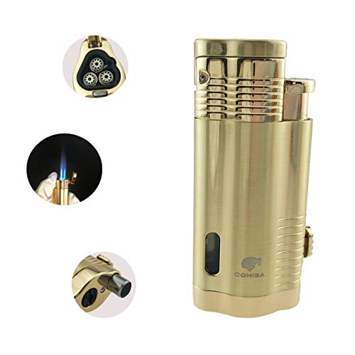 Cohiba Cigar Lighter 3 Torch Jet Flame with Punch Windproof Butane Fuel Lighter Refillable Inflatable(Without Gas) (Gold)