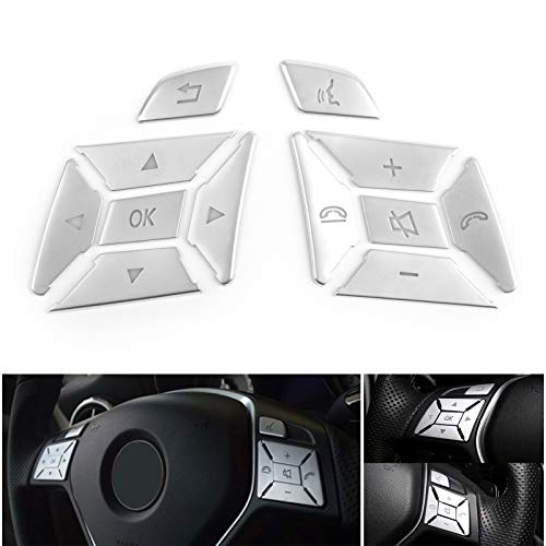 Artudatech Steering Wheel Button Silver Trim For Mercedes Benz E C G Class W204 2012-2016