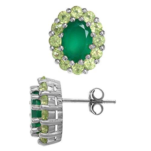 1.32ct. Emerald Green Agate & Peridot 925 Sterling Silver Flower Cluster Stud/Post (Emerald Cut Peridot Post Earrings)