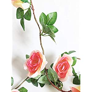 Artfen Artificial Rose Old Vine Fake Rose Flowers Garland Hanging Baskets Plants Home Outdoor Wedding Arch Garden Wall Decor Champagne Pink 4