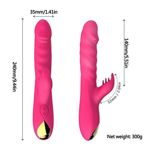 Rotation Telescopic 10 Speed Powerful Dildo Rabbit Vi-brator for Women Clitoris Stimulation Massage Vi-brator Adult Sex Toys Rose by Yincoo (Image #5)