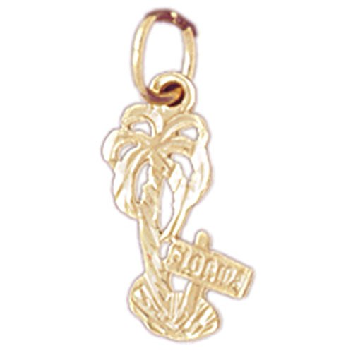 14K Yellow Gold Palm Tree Pendant Necklace - 17 mm 14k Yellow Gold Palm Tree