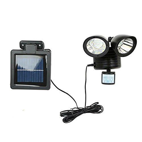 Solar Power Dish - Motion Sensor Light Dual Head Security Floodlight 22 LED Outdoor Solar Power BLK