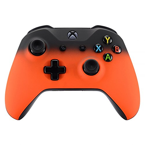 eXtremeRate Shadow Orange Soft Touch Grip Front Housing Shell Faceplate for Microsoft Xbox One S & Xbox One X Controller - Orange Housing
