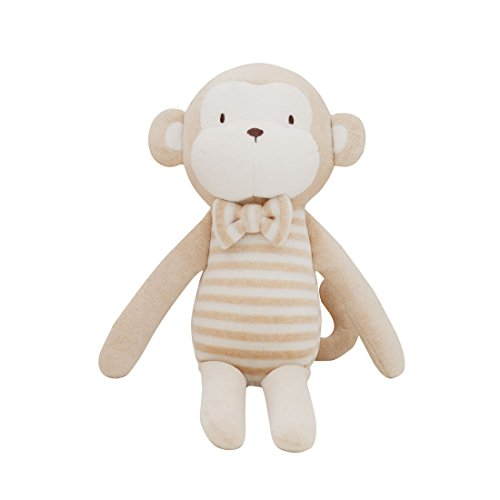 (Blessnature] 100% Organic Stuffed Animal, Baby Doll, Tri-Colored Plush Toy (Baby's Gentle Monkey)_12in)
