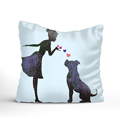 - XPNiao Decorative Throw Pillow Covers Striped Modern Pillowcases for Indoor Outdoor (16x16, Graphic Design Girl and Pit Bull)