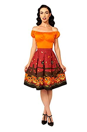 Golightly Joyce Skirt in Pumpkin Border Print (2X)