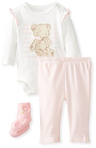 Kids Headquarters Baby-Girls Newborn Bodysuit with Pants and Socks, Cream, 3-6 Months