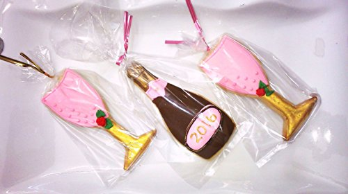 Decorated Cookies Bridal Shower Favors (12) Custom Monogram Pink and Gold Champagne Bottle and Fluted Glasses Bakery Style Sugar Cookies Gift Basket Party Favors Boxed