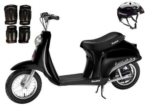 Razor Pocket Mod Vapor Electric Scooter (Black) w/ Helmet, Elbow and Knee (Razor Black Helmet)