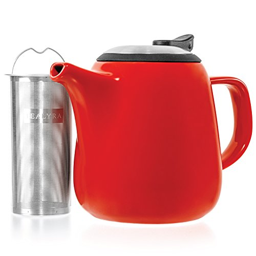 (Tealyra - Daze Ceramic Teapot in Red - 27-ounce (2-3 cups) - Small Stylish Ceramic Teapot with Stainless Steel Lid and Extra-Fine Infuser To Brew Loose Leaf Tea)