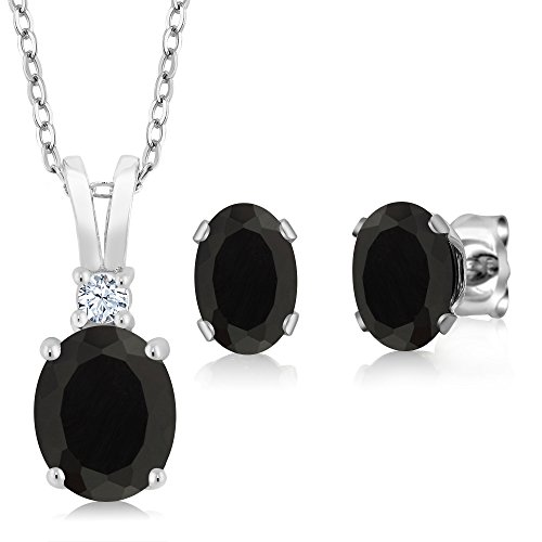 2.50 Ct Oval Black Onyx 925 Sterling Silver Pendant Earrings Set