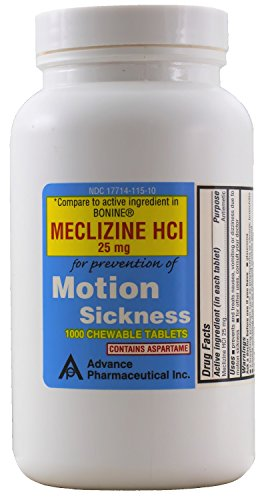Meclizine 25 mg Generic Bonine Motion Sickness 1000 Chewable Tablets by Advance Pharmaceutical