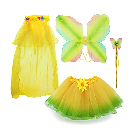 Fairy Costume, Sinuo Costume Set With Wings,Tutu,Wand and Veil Princess Set Fit Girls Age -