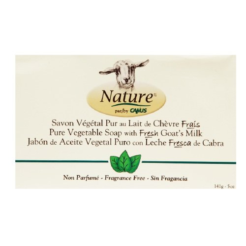 Nature By Canus Fragrance Free Pure Vegetable Bar Soap with Fresh Goat's Milk 5 Oz -2 Ea