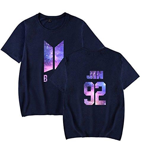 Allentato Blusa Shirt Rotondo T Comoda Maglietta Kpop Casuale Donna Modo Top Tunica Bts Scollo Blue3 Stampate Amangaga n0vwNm8