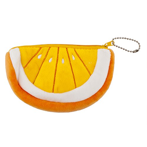 - Lux Accessories Orange Slice Plush Novelty Keychain Bag Charm Coin Purse Wallet