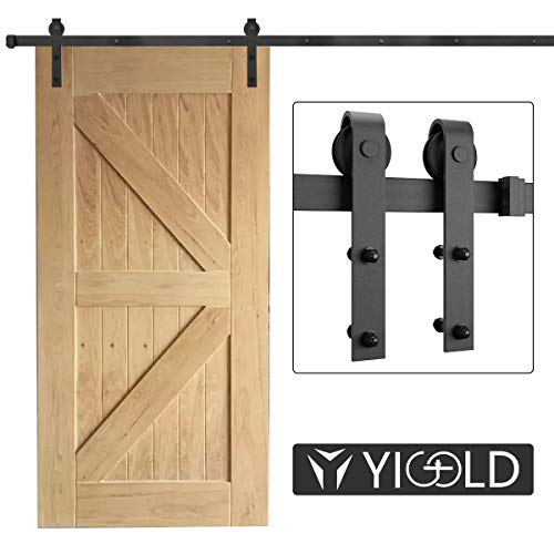 8FT Sliding Door Hardware Track Kit Heavy Duty Sturdy Factory Outlet Carbon Steel- Ultra Smoothly and Quietly Design-Easy Installation-Fit 45