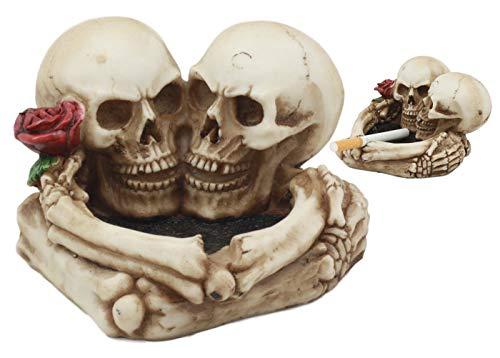Ebros Love Never Dies Skeleton Ashtray Resin Figurine 4.5