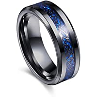 8mm Concave Black Laser Tungsten Carbide Mens Womens Ring Band Black Size7-10 LOVE STORY (#10, Blue)