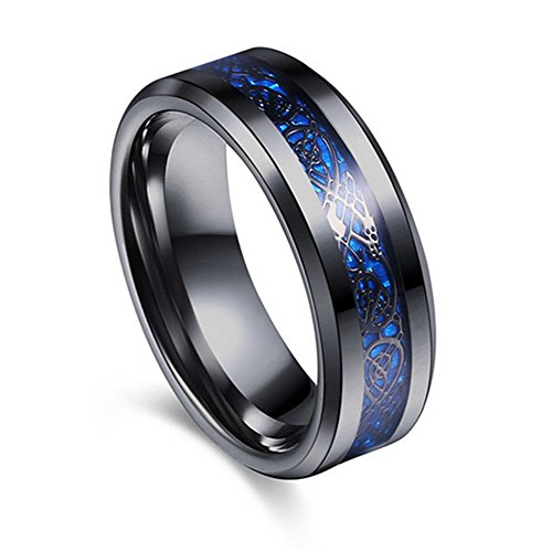 Concave Tungsten Carbide Band Ring - 8mm Concave Black Laser Tungsten Carbide Men's Women's Ring Band Black Size7-10 LOVE STORY (#9, Blue)