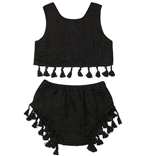 - Kids Baby Girls Tassels Sleeveless Tank Tops and Shorts 2PCS Baby Girls Crop Tops Short Pants Set (Black, 80(1-2Y))