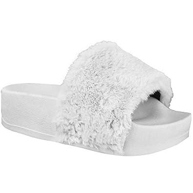 ffc7c28cd4c689 Fashion Thirsty Womens Ladies Wedge Flatform Fluffy Faux Fur Sandals Sliders  Slip On Size