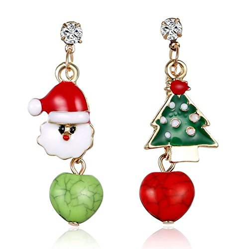 Ownsig Novelty Santa Claus Christmas Tree Apple Drop Rhinestone Stud Earrings Holiday Jewelry (Pattern Santa Earring)