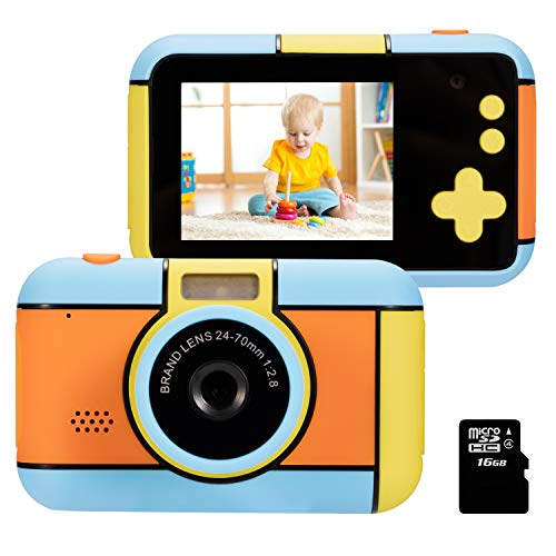 Dessports Kids Digital Cameras for Girls Selfie Rechargeable Child Mini Toddler Toy Camera for Kids 2.4Inches HD Screen Video Camcorder with FLash Light Gift for 4-8 Years Old Boys for Photograph Blue (Best Toy Camera For Toddler)
