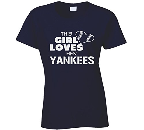 T-shirt Bling Fashion (South Beach T Shirts This Girl Loves Her Yankees Glitter Bling Baseball Heart T Shirt XL Navy)