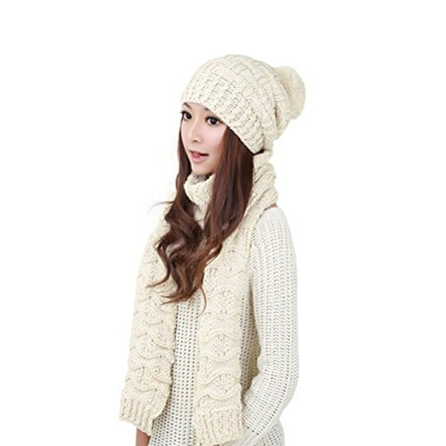Pixnor Womens Winter Knitted Scarf and Hat Set Thicken Skullcaps ()