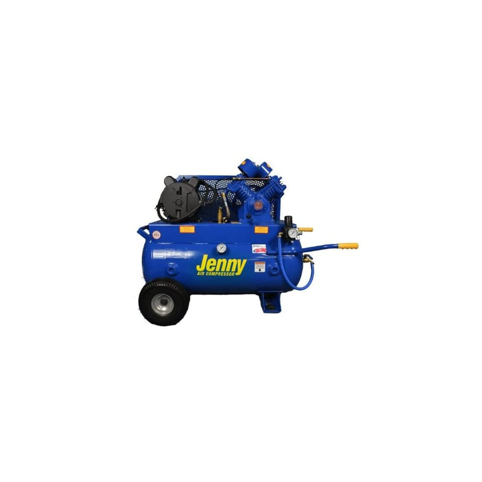 Jenny G3A 30 Single Stage Horizontal Corded Electric Powered Stationary Tank Mounted Air Compressor with G Pump, 30 Gallon Tank, 1 Phase, 3 HP, 230V