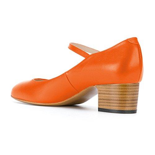 Fsj Dames Mary Jane Gestapeld Blok Hakken Vintage Pumps Retro Ronde Neus Schoenen Voor Comfort Maat 4-15 Us Oranje