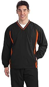 Sport-Tek con punta de para hombre cuello raglán Wind Camisa, 6x l, Blk/DP Orng Tamaño: 6x Big Color: Black/Deep Naranja, Modelo: jst62, Tools & hardware Store